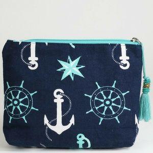 Handbags - Navy/Teal Anchor Print Makeup Bag